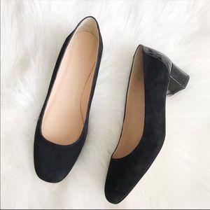 J. CREW 10 Black Suede Pumps Stamped Croc Heels